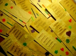 A spread of bookmarks in the lamplight